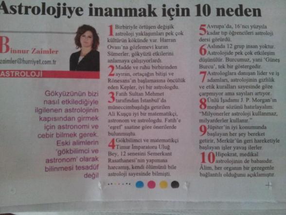 Binnur Zaimci'nin Hürriyet'te kaleme aldığı yazı.