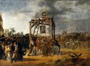Targowica Konfederasyonu liderlerinin resimlerinin idam edilmesi. Jan Piotr Noblin, 1794.(Wikipedia Commons)